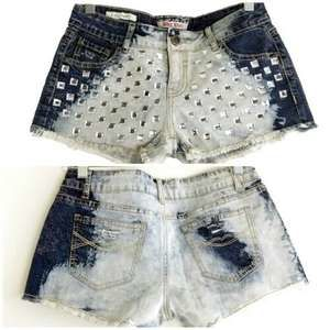 Hot Kiss Bleached Acid Wash Bling Festival Shorts